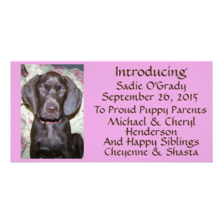 New Pet Adoption Announcement Brown Font on Pink Photo Card Template
