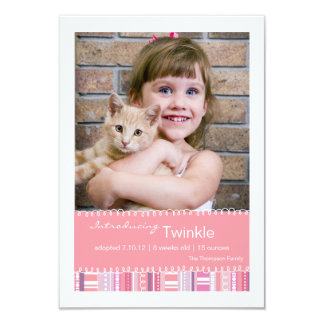New Pet Pink Purple Stripes Photo Announcement