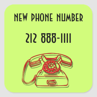 new phone number square sticker