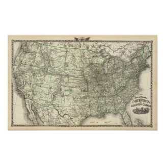 New railroad map of the United States 2 Poster