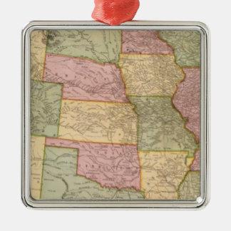 New Railroad Map of the United States Silver-Colored Square Ornament