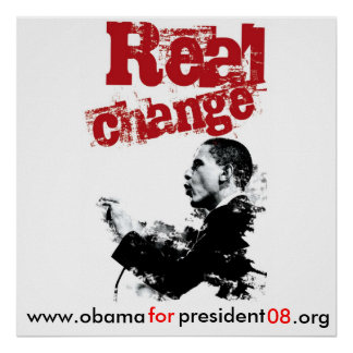 NEW Real Change_RED, www.obama, for, president,... Poster