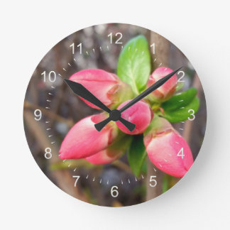 new red buds round clock