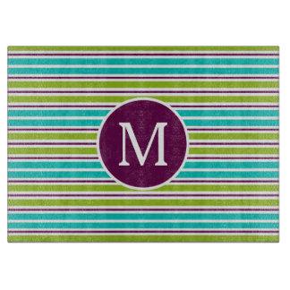 New Retro Blue Green Purple Stripes Monogram Boards