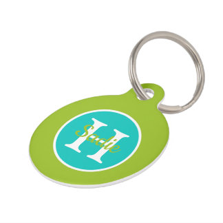New Retro Green and Blue Polka Dot Monogram Pet Tag