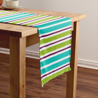 New Retro Green Blue Purple Stripes Short Table Runner