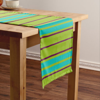 New Retro Purple and Blue Stripes on Green Short Table Runner