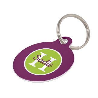 New Retro Purple and Green Polka Dot Monogram Pet Name Tag