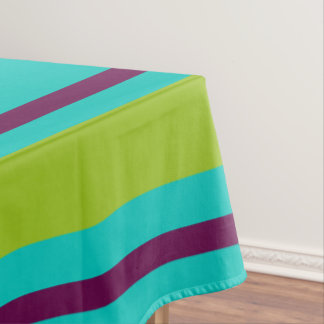 New Retro Purple and Green Stripes on Blue Tablecloth