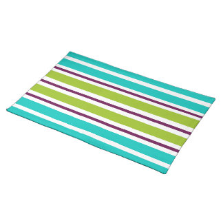 New Retro Purple Green and Blue Stripes on White Placemat