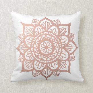 New Rose Gold Mandala Throw Pillow