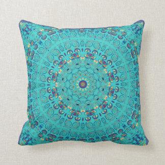 New Rose Window Blues Mandala Pillow