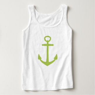 New Sage Green Anchor on White Tank Top