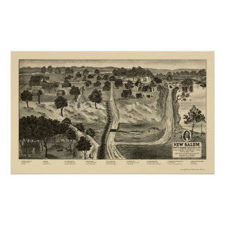 New Salem, IL Panoramic Map - 1837 Poster