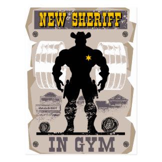 new sheriff in gym postcard