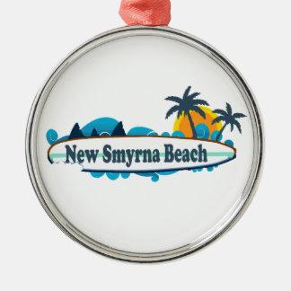 New Smyrna Beach. Silver-Colored Round Ornament