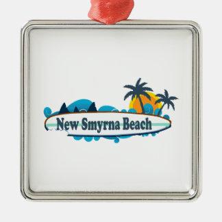 New Smyrna Beach. Silver-Colored Square Ornament