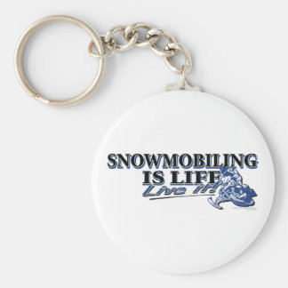NEW-SNOWMOBILING-IS-LIFE-2C BASIC ROUND BUTTON KEYCHAIN