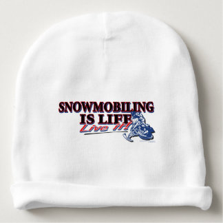 NEW-SNOWMOBILING-IS-LIFE BABY BEANIE