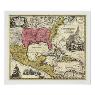 New Spain America Map 1712 Poster