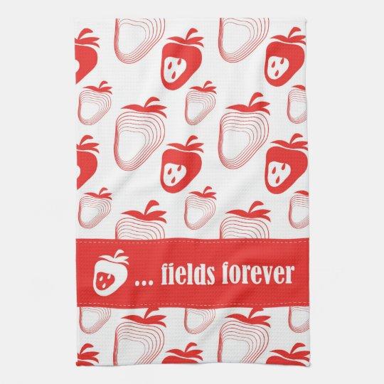 "NEW ""Strawberry ... fields forever"" Tea Towel"