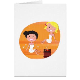 New stylish Greeting with 2 Sauna girls Card