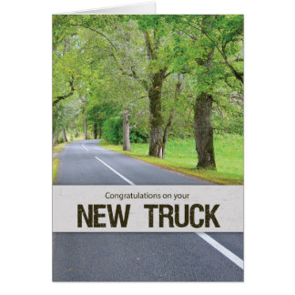 New Truck Congrats, Road with Trees Card