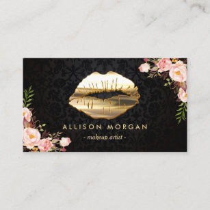 Makeup artist business cards profile cards zazzle ca new version gold lips makeup artist floral business card colourmoves