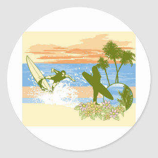 new vintage surfer hawaii beach girl boy classic round sticker