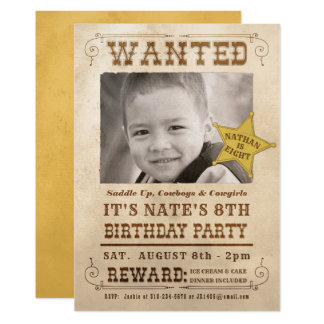 New Wanted Poster Cowboy Western Birthday Party Card