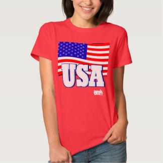New Women Sports Red White & Blue USA Flag Tshirt