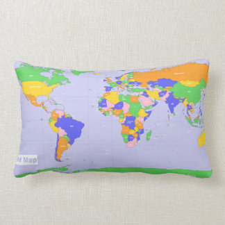 New World Map Lumbar Pillow