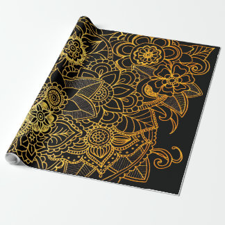 New Wrapping Paper Floral Doodle Gold G523