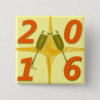 New Year 2016 Toast 2 Inch Square Button