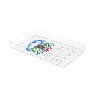 New Year 2018 greeting calendar Acrylic Tray