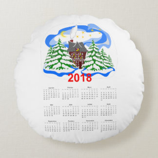 New Year 2018 greeting calendar Round Pillow