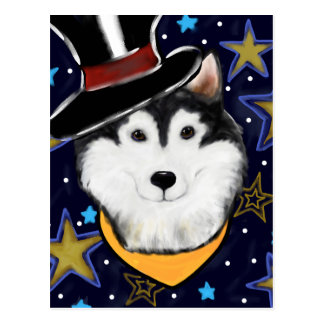 New Year Alaskan Malamute Postcard