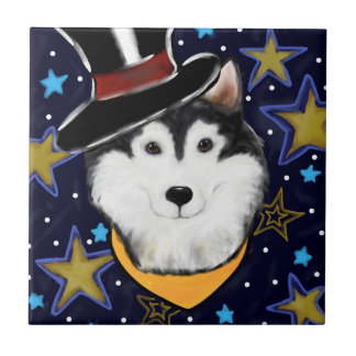 New Year Alaskan Malamute Tile
