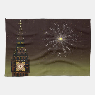 New Year And Fireworks Kitchen Towel