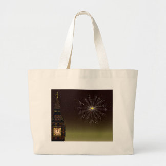 New Year And Fireworks Large Tote Bag