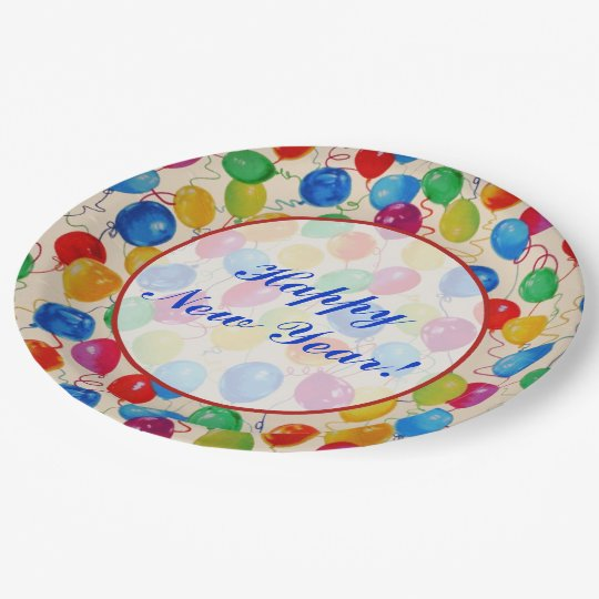 New Year Balloons Paper Plate