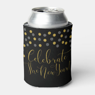 New Year - Black and Gold Celebrate New Year Can Cooler