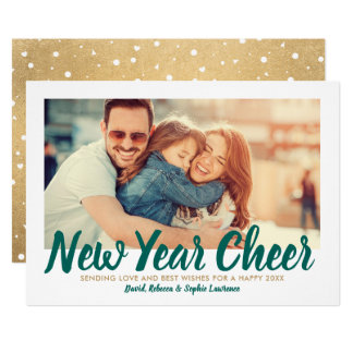 New Year Cheer | Antique Gold Holiday Photo Card