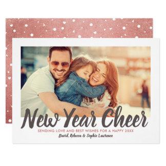 New Year Cheer | Rose Gold Holiday Photo Card