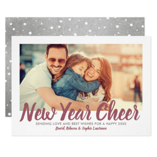 New Year Cheer | Silver Holiday Photo Card