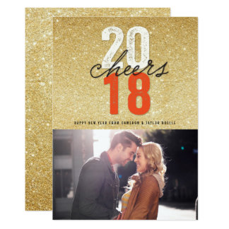 New Year Cheers 2018 Glitter Holiday Photo Card