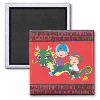New Year Dragon Ride Magnet