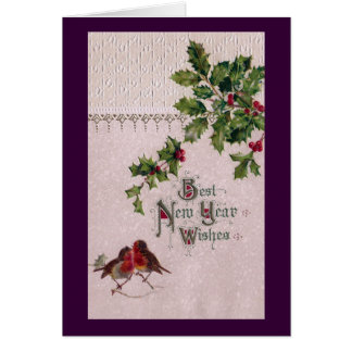 New Year Euro Robins and Holly Card
