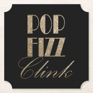 New Year Eve Gold and Black Pop Fizz Clink Paper Coaster