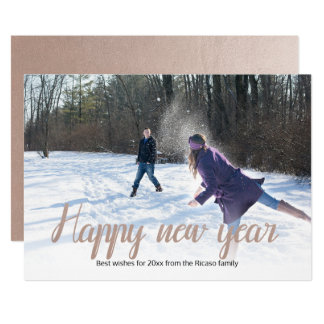 New Year Faux Copper Personalized Card